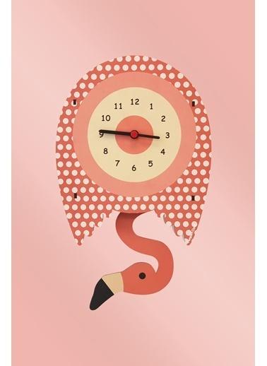 Peoples Clock Filamingo Sallanan Sarkaçlı Çocuk Odası Duvar Saati Renkli